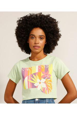 "YESSICA Camiseta Cropped Sunkissed"" Manga Curta Decote Redondo """