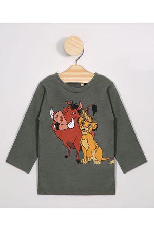 Disney Menino Camisolas de Manga Larga - Camiseta Infantil Timão e Simba Manga Longa