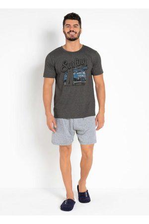 Actual Homem Bermuda - Pijama com Camiseta e Bermuda Chumbo e Mescla