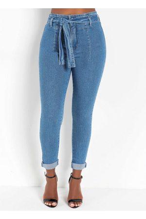 Sawary Jeans Mulher Calça Skinny - Calça Jeans Hot Pants Skinny com Faixa Sawary