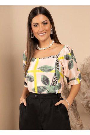Quintess Mulher Blusa - Blusa Geométrico Onça com Decote Quadrado