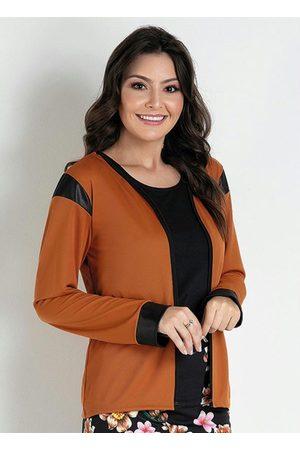 ROSALIE Mulher Casacos - Casaco com Punhos Caramelo/Preto Moda Evangélica
