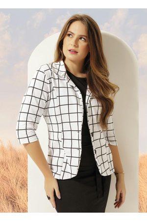 ROSALIE Mulher Blazer - Blazer com Botão Quadrado Moda Evangélica