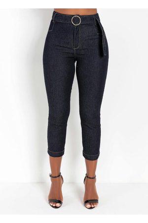 Sawary Jeans Mulher Calça Jeans Reta - Calça Jeans Escuro Reta com Fivela Sawary