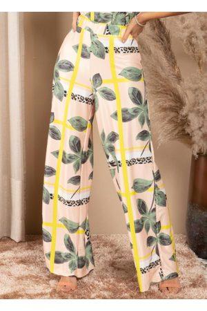 Quintess Calça Pantalona Geométrico Onça Cintura Alta