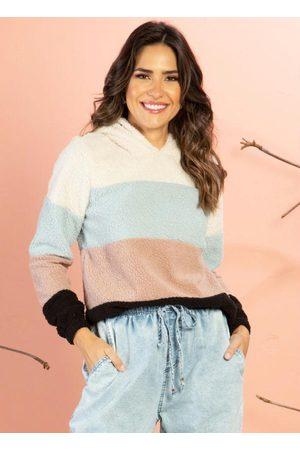 QUINTESS Mulher Casacos - Casaco com Capuz Off White e Recortes Coloridos