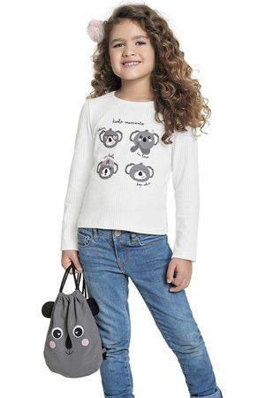 Fakini Kids Menina Blusa - Conjunto Blusa Branca e Bolsa Coala