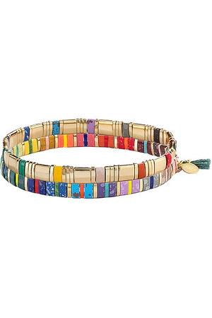 Shashi Tilu Bracelet Set in Metallic Gold.