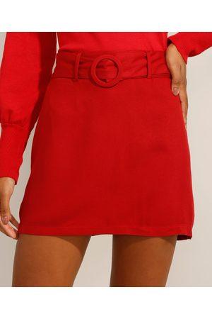 YESSICA Mulher Minissaia - Saia de Viscose com Cinto Curta Vermelha