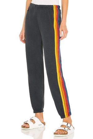 AVIATOR NATION 5 Stripe Sweatpant in Black. - size L (also in M, S, XS)