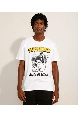 """Clock House Camiseta de Algodão Sunshine"""" Manga Curta Gola Careca Branca"""""""