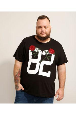"""Clock House Camiseta de Algodão Plus Size 82"""" com Bordado de Rosas Manga Curta Gola Careca Preta"""""""
