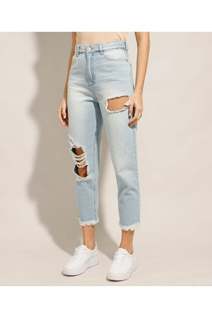 Clock House Calça Mom Cropped Jeans Destroyed Cintura Super Alta Claro