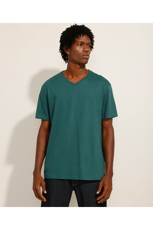 Basics Homem Camisolas de Manga Curta - Camiseta Básica Manga Curta Gola Careca Escuro