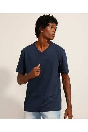 Basics Homem Camisolas de Manga Curta - Camiseta de Algodão Básica Manga Curta Gola V