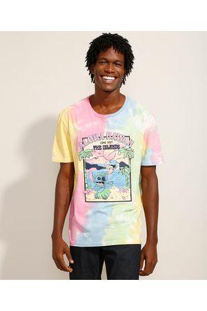 Disney Homem Camisolas de Manga Curta - Camiseta Lilo e Stitch Estampada Tie Dye Manga Curta Gola Careca Multicor