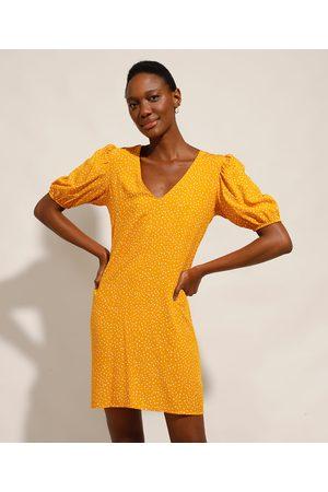 YESSICA Vestido Feminino Curto de Poá Manga Bufante Amarelo