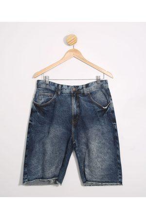 Clockhouse Homem Bermuda - Bermuda Slim Jeans Marmorizada Escuro