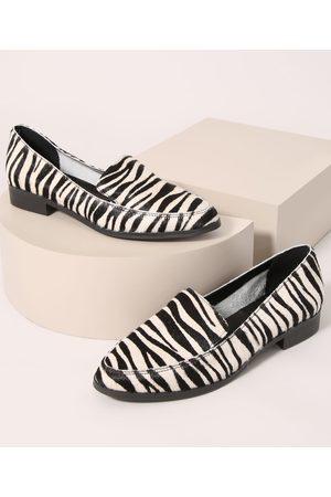 Oneself Mocassim Feminino Animal Print de Zebra Multicor