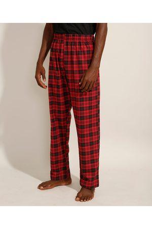 Angelo Lítrico Homem Pijamas - Calça de Pijama em Flanela Estampada Xadrez com Bolso Vermelha