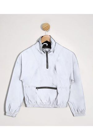Fifteen Menina Casacos - Blusão Juvenil Cropped Refletivo com Recortes