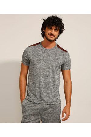 ACE Homem Camisolas de Manga Curta - Camiseta Esportiva com Recorte Neon Manga Curta Gola Careca Mescla