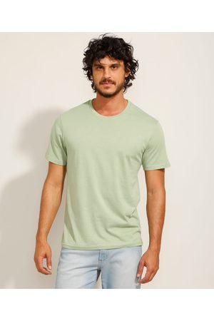 Basics Homem Camisolas de Manga Curta - Camiseta Masculina Básica Manga Curta Gola Careca Claro
