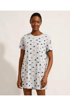 Design Íntimo Mulher Camisola - Camisola Estampada de Corações Manga Curta Cinza Mescla
