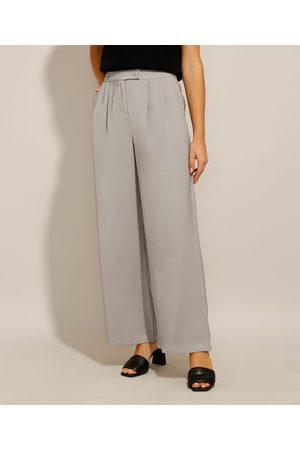 City Mulher Calça Flare - Calça Wide Pantalona Alfaiataria com Pregas e Bolsos Cintura Super Alta Claro