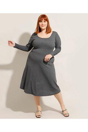 City Mulher Vestido Longo - Vestido Plus Size Midi Manga Longa Decote Redondo Mescla