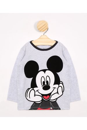 Disney Menino Camisolas de Manga Larga - Camiseta Infantil Mickey Manga Longa Mescla Claro