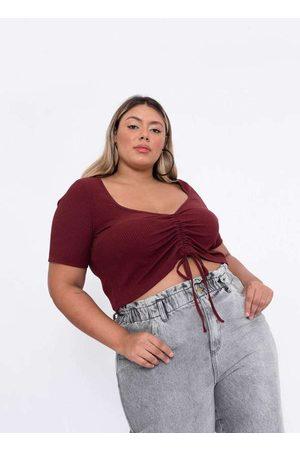 Tal Qual Mulher Blusa - Blusa Almaria Plus Size Cropped Malha Can