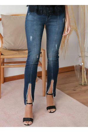 Eventual Mulher Calça Skinny - Calça Skinny Jeans com Puídos e Fendas