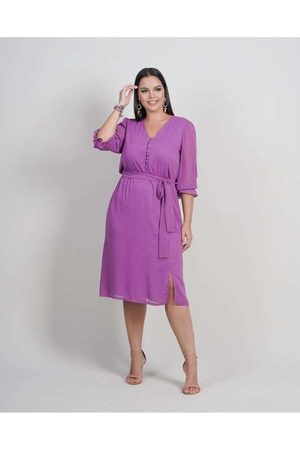 Newumbi Mulher Vestido Médio - Vestido Midi Almaria Plus Size New Umbi Devorê Rox