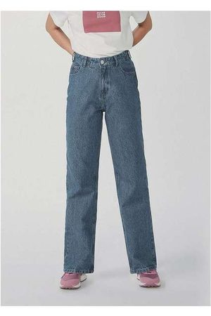 Hering Mulher Cintura Alta - Calça Feminina Reta Cintura Super Alta em Jeans Az