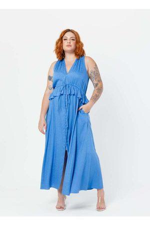 Tal Qual Mulher Vestido Médio - Vestido Midi Plus Size Decote Viscose