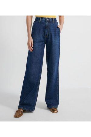Cortelle Mulher Calça Flare - Calça Wide Leg Jeans Lisa com Pespontos | | | 42