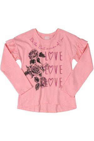 Quimby Menina Manga Longa - Blusa Infantil Love Roses