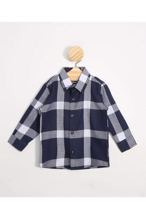 BABY CLUB Menino Camisa Manga Comprida - Camisa Infantil Estampada Xadrez Manga Longa Azul Marinho