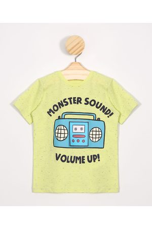 "BABY CLUB Camiseta Infantil Monster Sound Volume Up!"" Manga Curta Amarela"""