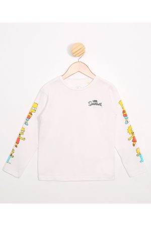 Os Simpsons Camiseta Infantil Manga Longa Off White
