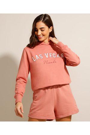 """Clock House Mulher Casacos - Blusão de Moletom Las Vegas"""" com Capuz Coral"""""""