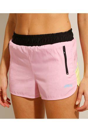 ACE Mulher Shorts Esportivos - Short Running Esportivo Color Block com Bolsos de Zíper Multicor