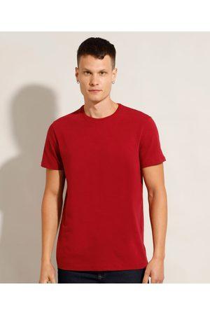 Basics Homem Manga Curta - Camiseta Masculina Básica Manga Curta Gola Careca Vermelha