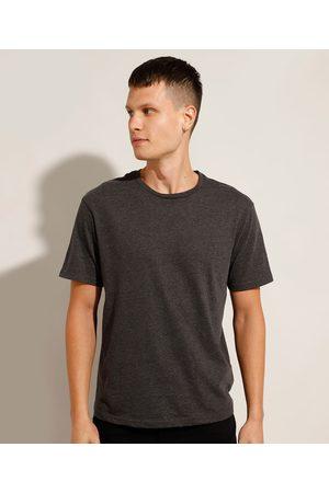 Basics Camiseta Masculina Básica Manga Curta Gola Careca Mescla Escuro