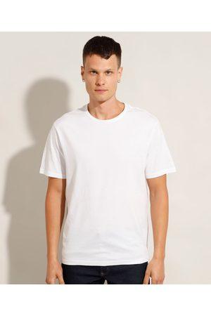 Basics Camiseta Masculina Básica Manga Curta Gola Careca Branca