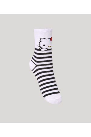 Hello Kitty Meia Cano Alto Estampada Branco
