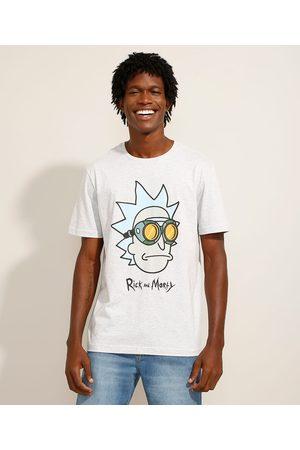 Warner Bros Camiseta Rick and Morty Manga Curta Gola Careca Mescla Claro