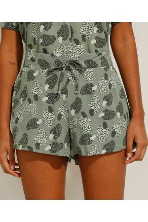 YESSICA Mulher Short - Short de Viscose de Caju Animal Print Onça com Bolsos Cintura Média Verde