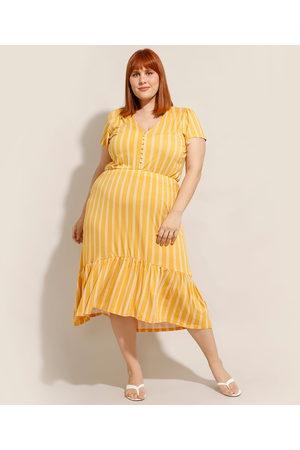 City Mulher Vestido Estampado - Vestido Plus Size Midi Peplum Listrado Manga Curta Decote V Mostarda